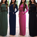 2016 Autumn Women casual long-sleeved O neck Maxi Dress Fashion Lady Solid with pocket Long Dresses Vestidos with belt