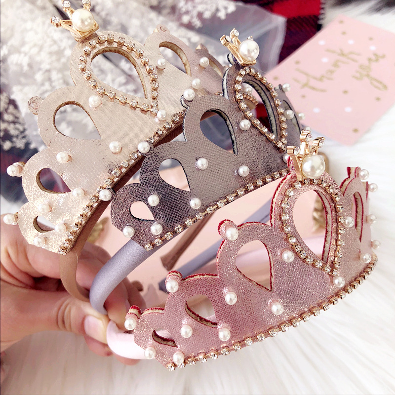 Resale Glitter Felt Crown Solid Hairband Pearls Royal Style Kids Headbands Shinning Crystal Alloy Crown Girls Headbands Prince