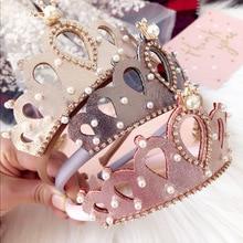 Resale Glitter Felt Crown Solid Hairband Pearls Royal Style Kids Headbands Shinning Crystal Alloy Girls Prince