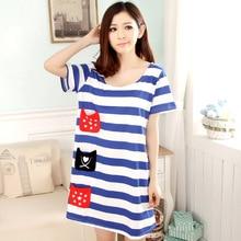 Summer New Fashion Women's Knitting Cotton Striped Cute Sleep Dress Sleepshirts Multi Pockets Casual Homewear Girls