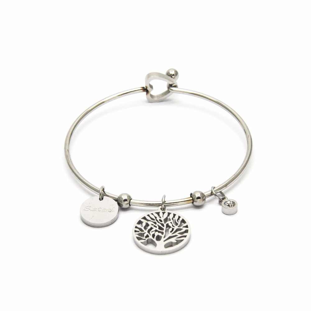 2019 Fashion Personality Women Bangles Silver Wishing Tree Pattern Stainless Steel Bangles For Female BA03262