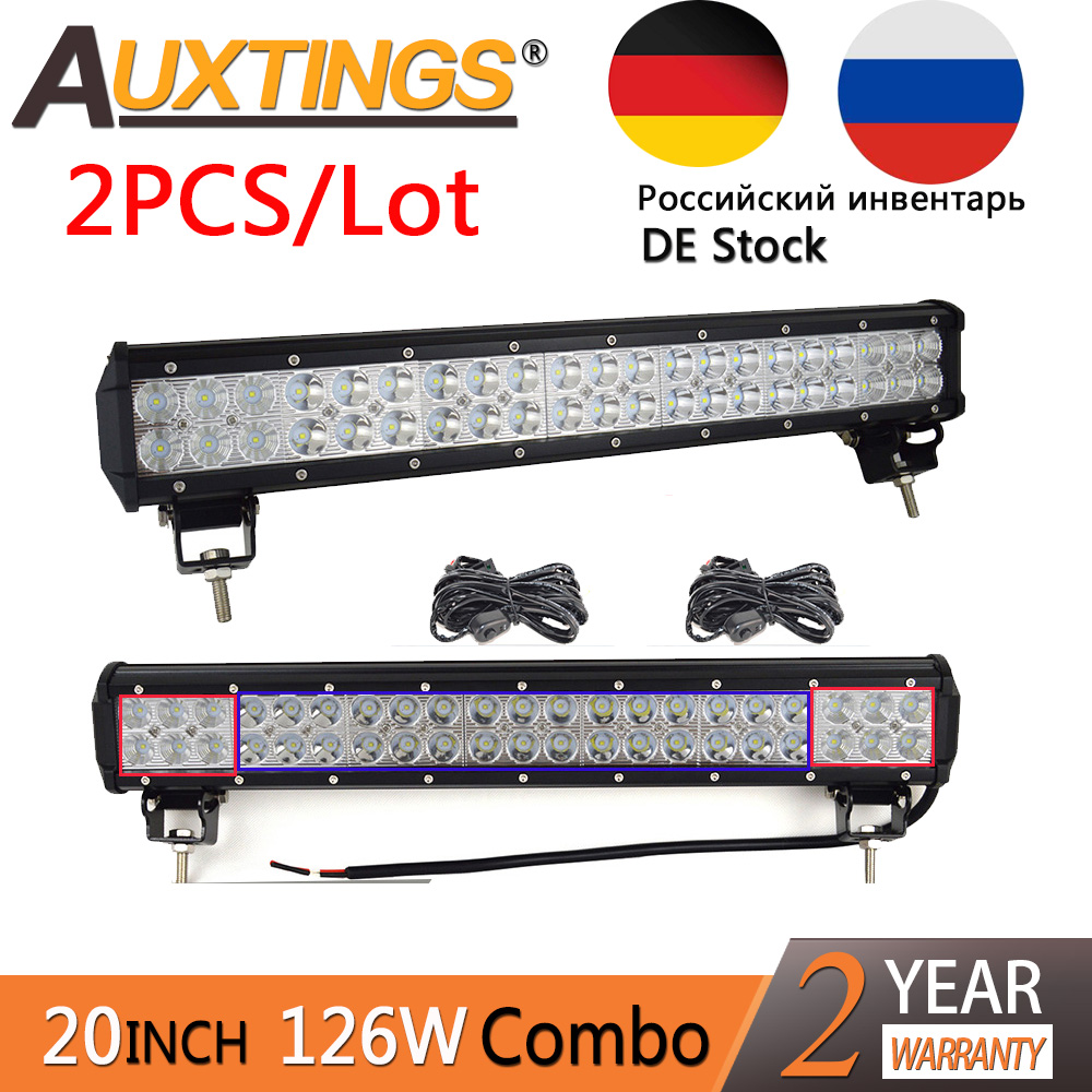 цена на Auxtings 2pcs 20'' 126w 20inch led work light bar barra double rows off road 4x4 truck off road led light bar 12v24v DE RU Stock