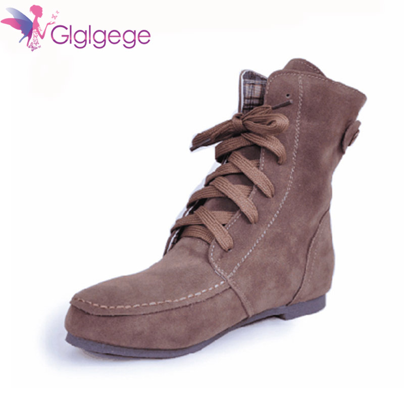 Glglgege Winter Ankle Short Women Boots Flat Heel Lace-Up Single Martin Boots Green Shoes Push Warm Flat Shoes Ladies Large Size 2018 new autunm winter ankle short women boots flat heel lace up single martin boots shoes push warm flat shoes ladies zk 3 5