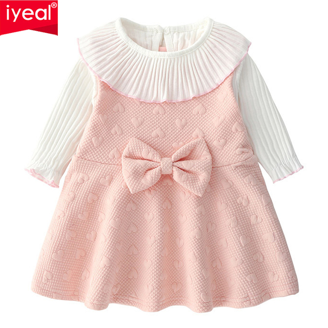 d55a82c8a919 IYEAL New Baby Girl s Clothes Sets Pink Woolen Dresses With Long ...
