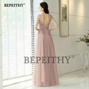 Image 2 - Женское винтажное вечернее платье, длинное розовое платье с V образным вырезом и разрезом, элегантное платье для выпускного вечера, 2020