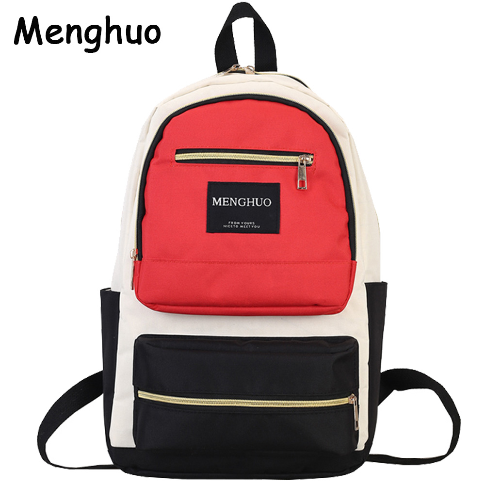 79d6680d8f Best buy Menghuo 2017 Fashion Women Backpack High Quality Panelled Backpacks  for Teenage Girls Female School Shoulder Bag Bagpack mochila online cheap