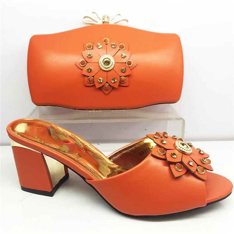Pasujące buty i torba zestaw afryki sandały ślubne buty i torba zestaw kobiet buty i torba pomarańczowy pantofel kryształ szpilki w Buty damskie na słupku od Buty na  Grupa 1