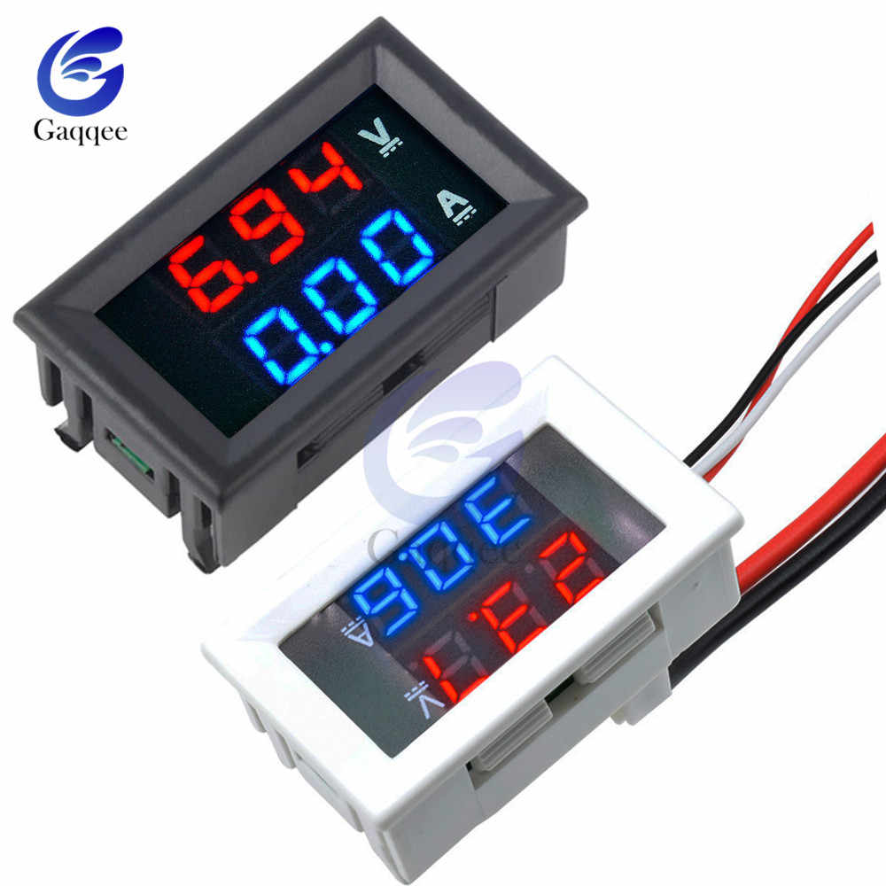"Dual LED Display Mini Digital Voltmeter Ammeter DC 100V 10A Panel Amp Volt Voltage Current Meter Tester 0.56"" White/Black Case"
