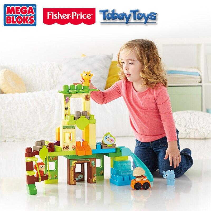 2017 nouveau Original Fisher Price Mega Bloks balançoire et toboggan Safari blocs De construction jouet Bloque De Edificio bébé jouet drôle DPJ58