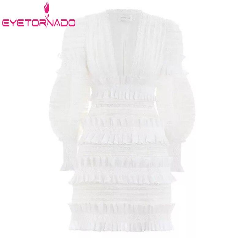 Gâteau Ruches Manches 2019 Élégant Femmes Sexy Robe Décor Vacances Parti Moulante De Mini Blanc Cascade Dentelle D'été Lanterne SrR8qrI