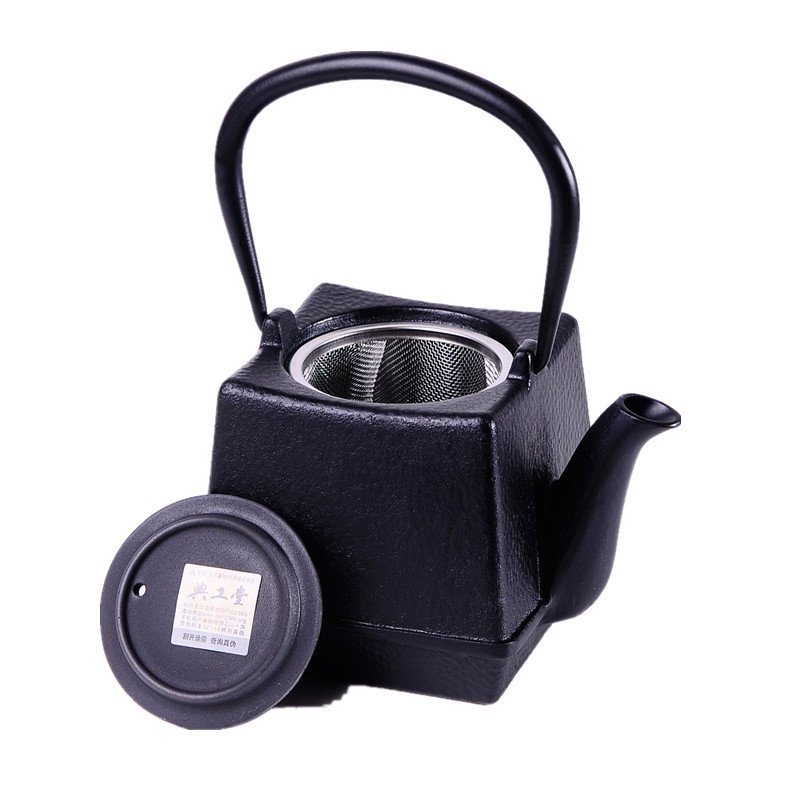 750ml Square Cast Iron Tea pot Set Japanese Teapot Kettle With Metal Net Filter 750ML Kung