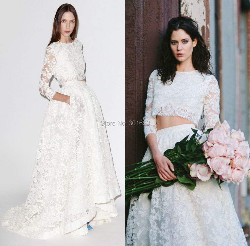 a87fd1269f8d Oumeiya OW119 Lace Three Quarter Sleeve Short Front Long Back Two Piece  Wedding Dress 2015