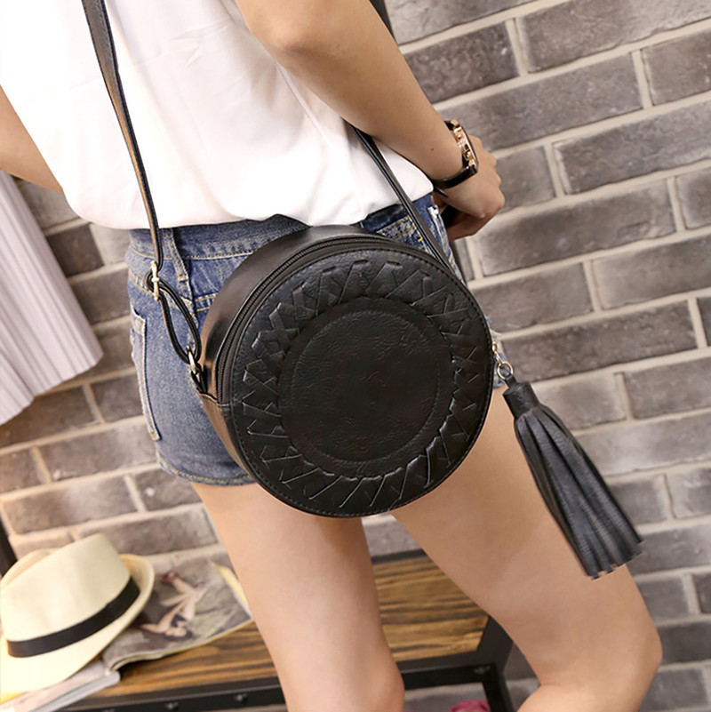 Woman Round Casual Shoulder Bag Female Adjustable Braided Tassel Small Round Bag Lady Versatile Funny Bag Bolsa Feminina 2019(China)