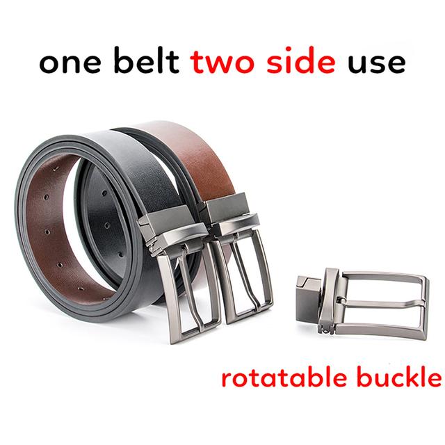 2017 Uso de Dos Lados Cinturones de Diseñador Hombres de Alta Calidad de Lujo de Negocios Hombre de Cuero Verdadero Genuino de La Boda Correa para Los Pantalones Vaqueros de Cintura