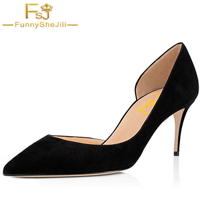Black Basic Slip On Pumps Sexy Women Pointed Toe Faux Suede High Heels 8cm D'orsay for Office Dress Size 4-16 US FSJ
