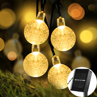 Solar Globe String Lights Waterproof IP65 21FT 30 LED 8 Modes Crystal Ball Globe Fairy For