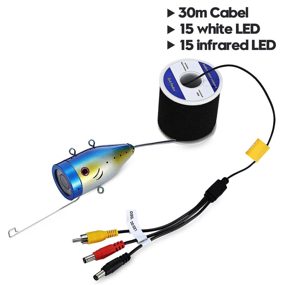 7,0 дюймов 15 м 1000TVL подводный рыболокатор рыболовная камера 15 шт белые светодиоды+ 15 шт инфракрасная лампа рыболокатор IP68 водонепроницаемый - Цвет: 30M Two colors LEDS