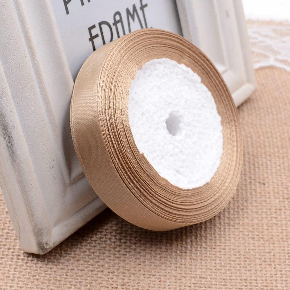 Ткань 10 мм 25 ярдов Белый Шелковый Атласный органза полиэстер лента для шитья Свадебная вечеринка украшение тесьма для рукоделия Подарочный упаковочный пояс - Цвет: 27