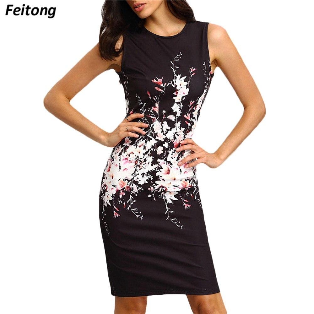 Mujeres elegante Oficina vestido de verano sin mangas floral imprimir bodycon rodilla Vestidos señoras vintage Oficina lápiz vestido vestidos # ed