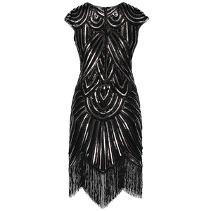Image 3 - נשים של גטסבי גדולה בציר O צוואר שווי שרוול נצנצים חרוז ציצית 1920s שמלת סנפיר של שואג מסיבת תחפושות