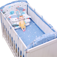 5pcs Mesh Baby Bumpers Summer Breathable Newborns Crib Bedding Set Boys Girls Baby Cot Bedding Including Bed sheet Bumpers
