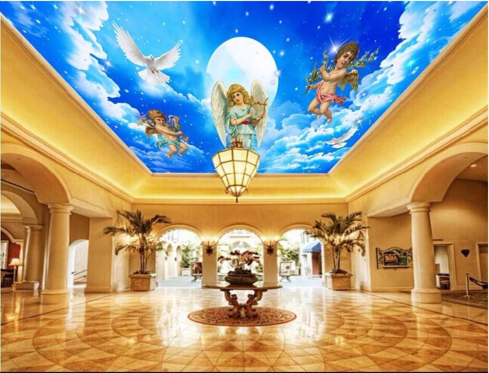 3d ceiling wallpaper custom photo mural Beauty of the Virgin Lady room decoration painting 3d wall murals wallpaper for 3 d custom baby wallpaper snow white and the seven dwarfs bedroom for the children s room mural backdrop stereoscopic 3d