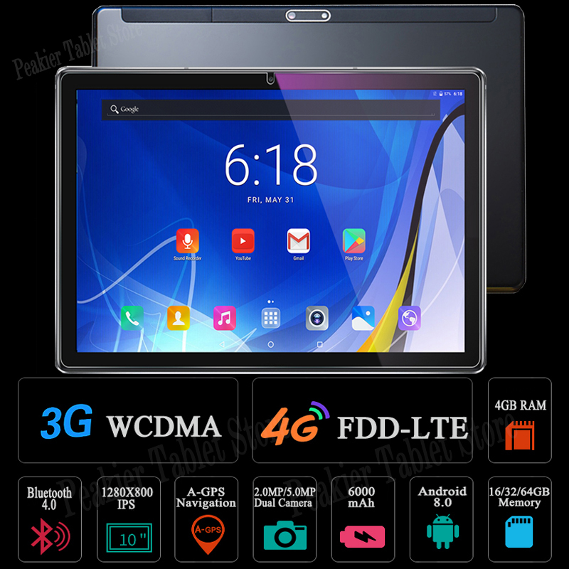 Tablets 10inch Android-8.0 Wifi Octa-Core 64GB 4G LTE 10-10.1 DHL IPS Tempered-Glass