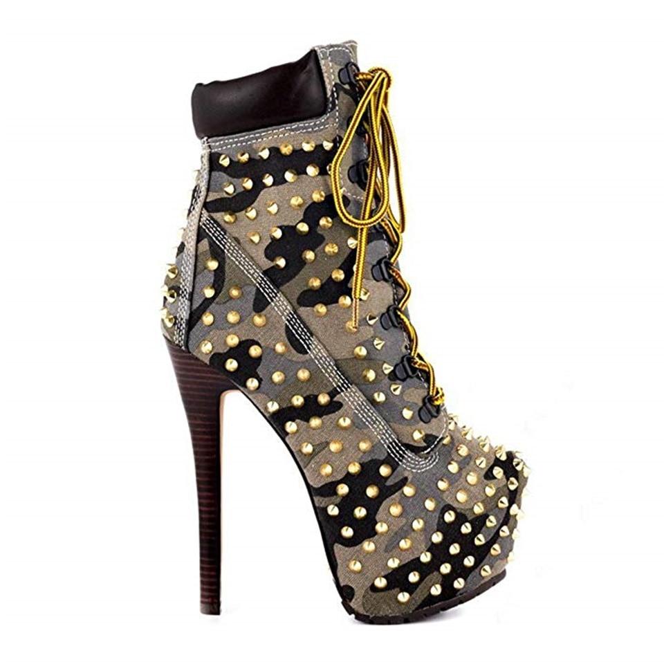 Модные женские ботинки; сезон весна осень красивые декоративные заклепки на высоком каблуке 14 см с перекрестными ремешками; женские ботинки на платформе - 2