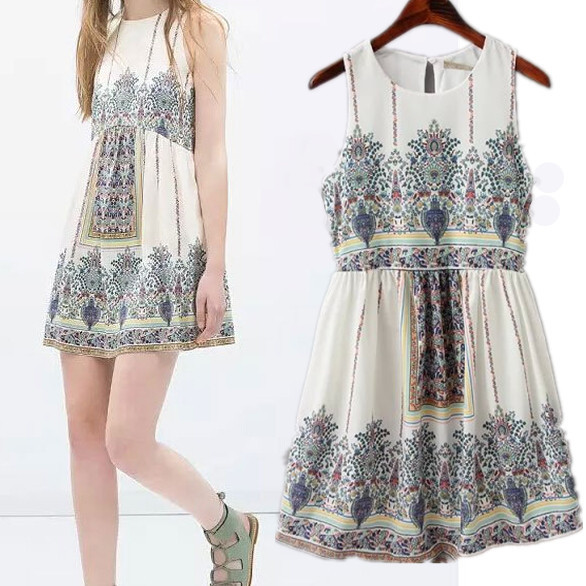 Ethnic fashion retro print cute casual women summer dress 2015 vintage Bohemia paarty dresses ...