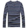 New 2016 Casual Men Tops Tees Cotton Men's Striped T Shirt Men Long Sleeve One Button Soft Slim Fit T-SHIRTS Boys Mens Clothes