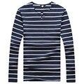 Novo 2016 Homens Casual Tops T-shirt de Algodão dos homens Camisa Listrada T dos homens de Manga Comprida Um Botão Macio Slim Fit CAMISETAS Dos Meninos Dos Homens roupas