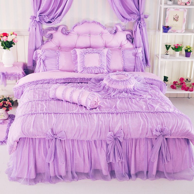 Korean Bow Crystal Gauze Pure Cotton Bed Skirt 4PC Bed Sheet Sets Of Bedding  Twin/Full/Queen/King MMA ZYNC In Bedding Sets From Home U0026 Garden On ...