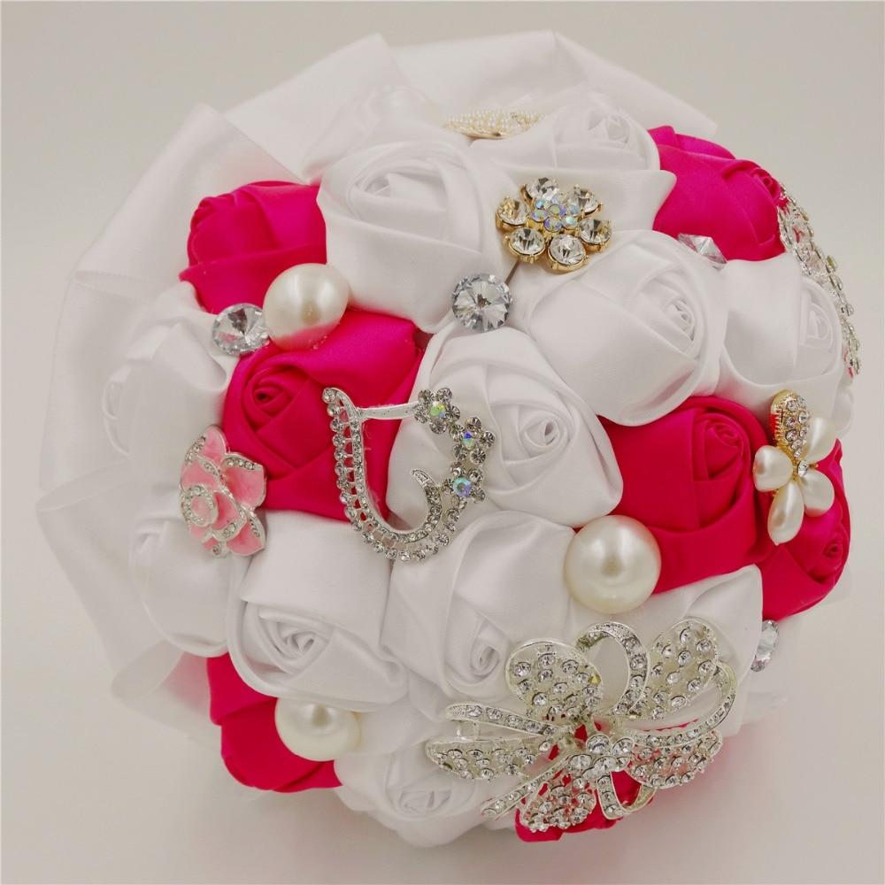 Wedding accessories pearls flowers pearls - Silk Rose Fuschia Satin Artificial Wedding Accessories Bridesmaid Bead Pearl Ribbon Bridal Bouquet White Crystal Wedding