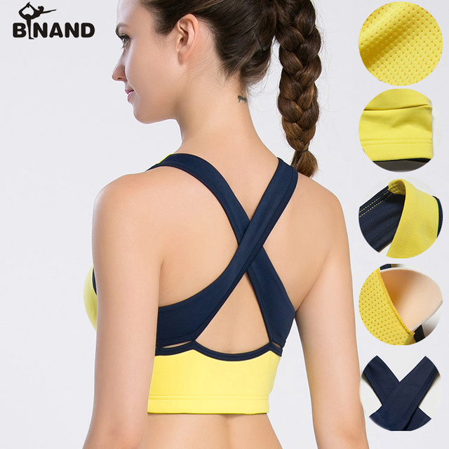 d6e063818d BINAND Wirefree Removable Chest Pad Sports Bra Push Up Quick Dry High Impact  Tank Top Compression