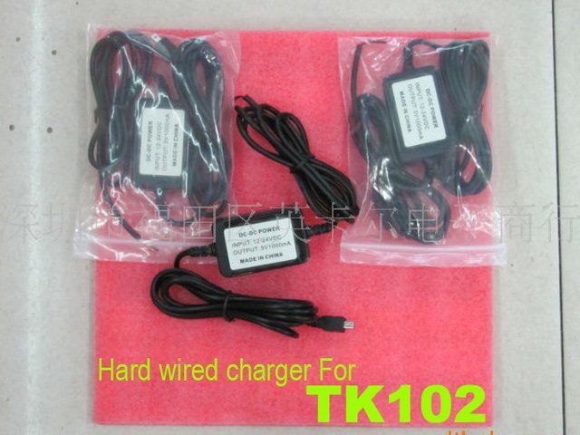 2pcs Hard-wired car charger Cable for GPS Tracker TK102 battery ,car charger tk102 ,Free shipping