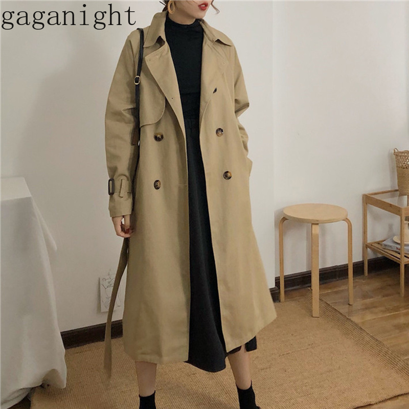 Gaganight Spring Autumn Women Fashion Korean Waist Belt Loose Khaki Color Trench Female Casual Elegant Soft Long Coat Cloth