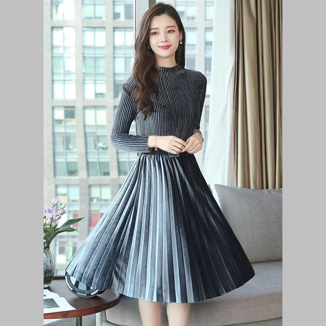 Solid Office Lady Dress Elegant Women Winter Business Casual Slim Aline  Dresses Long Sleeve Knee Length 767ea5d8c680