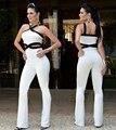 Estilo Euro 2017 New Sexy Macacão Branco Mulheres Macacão Calças Compridas Combinaison Femme Outsize tamanho S/M/L/XL/XX