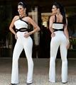 Euro Style 2017 Nueva Sexy Blanco Mamelucos Womens Jumpsuit Pantalones Largos Combinaison Femme Outsize tamaño S/M/L/XL/XX