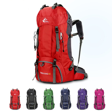 70L Waterproof Polyester Outdoor  Sport Bag With Rain Cover Camping Hiking Trekking Backpack Travel Rucksack