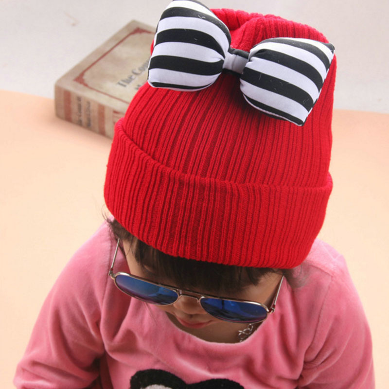 Boys' Baby Clothing Initiative 2017 Hot Baby Child Knitting Wool Cat Hat Ski Hat Thickening Warm Color More Affordable Bow Stripes Cap 2mz55 Clearance Price Mother & Kids