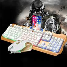 Hobbylane Keyboard dan Mouse dengan USB Kabel USB PC Gamer Suspensi Mekanik Merasa Laptop Komputer Keyboard + Mouse Set D29(China)