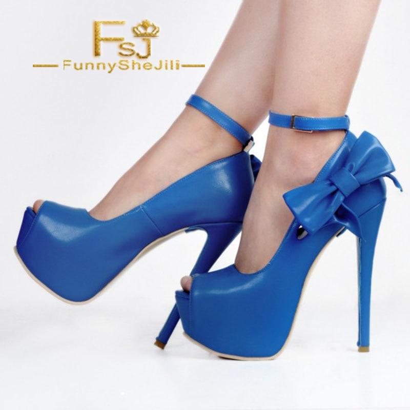 Peep Attrayant À La Mode Toe Femmes Arc Automne Chaussures Plate Bleu Printemps Fsj01 Pompes Incomparable Fsj forme Cheville Talons Bride Royal tSqB4x