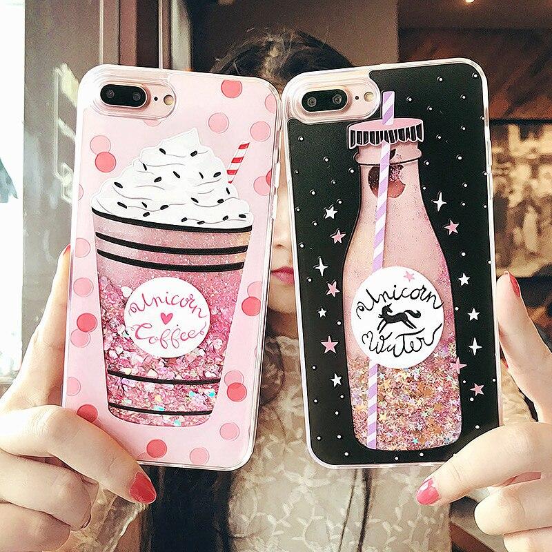 Cute Ice Cream Phone Cases for Iphone 7 Plus Case Drink Bottle Heart Glitter Star Dynamic Liquid