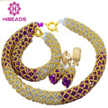 2016 Popular Purple Lilac African Wedding Beads Crystal Necklace Jewelry Set BridalGold Plated Jewelry Set Free Shipping AIJ479