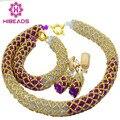 2016 Populares Púrpura de la Lila de La Boda Africana Cuentas de Collar de Cristal Fijó BridalGold AIJ479 Plateó La Joyería Fijó El Envío Libre