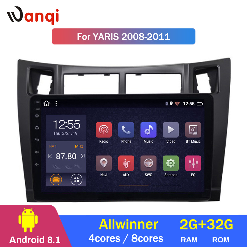 2G RAM 32G ROM Android 8.1 Car DVD player for toyota yaris 2008 2011 GPS Navigation With Bluetooth/WIFI/USB