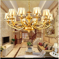 Retro copper chandeliers living room dining room chandelier lighting modern bedroom glass lamp pure copper vintage chandelier