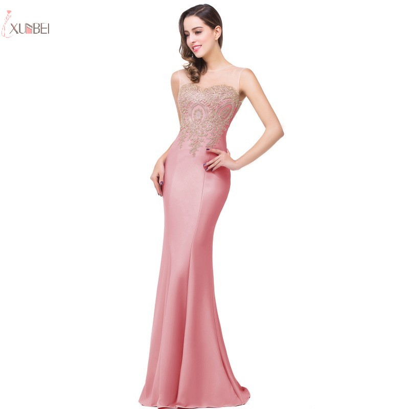 New Arrival Elegant Pink Mermaid Long Bridesmaid Dresses Lace Applique Sleeveless Wedding Party Dress vestido madrinha
