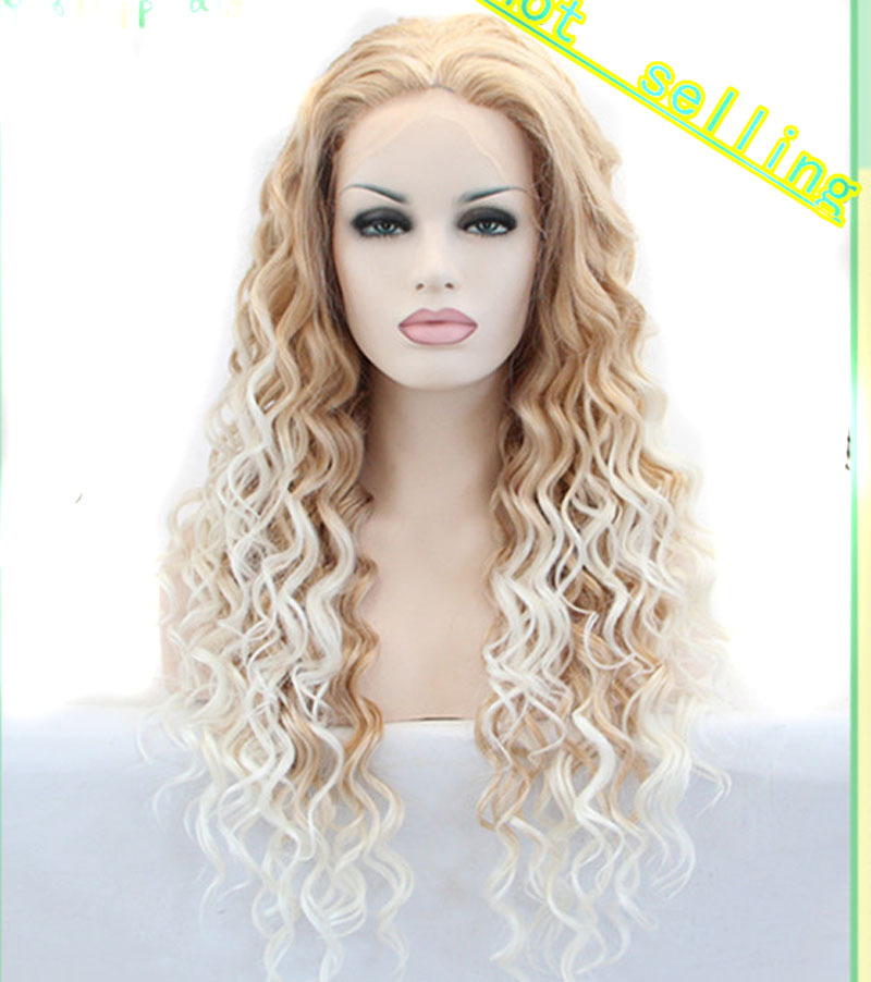 ФОТО heat resistant hair blonde to white two tones ombre synthetic lace front wigs for women long curly wig